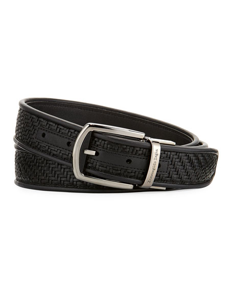 Ermenegildo Zegna Reversible Pelle Tessuta Leather Belt, Black