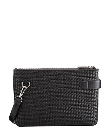 Ermenegildo Zegna Pelle Tessuta Leather Double Crossbody Bag