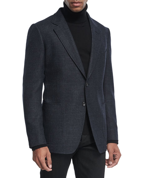 TOM FORD Shelton Prince of Wales Canvas Cardigan
