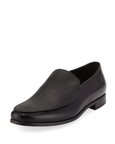 Grained & Smooth Leather Venetian Loafer, Black