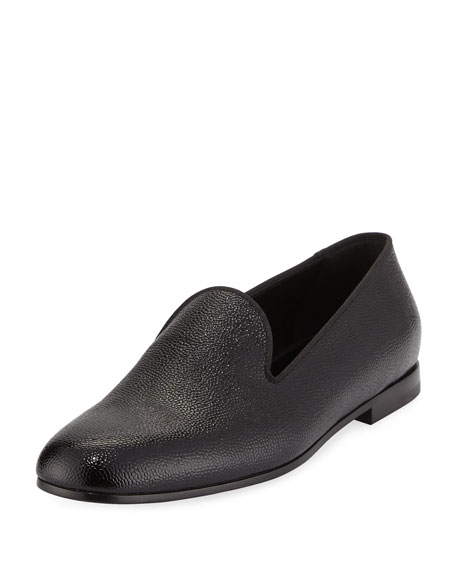 Giorgio Armani Patent Caviar Leather Formal Loafer, Black