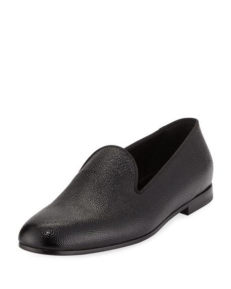 Giorgio Armani Patent Caviar Leather Formal Loafer, Black