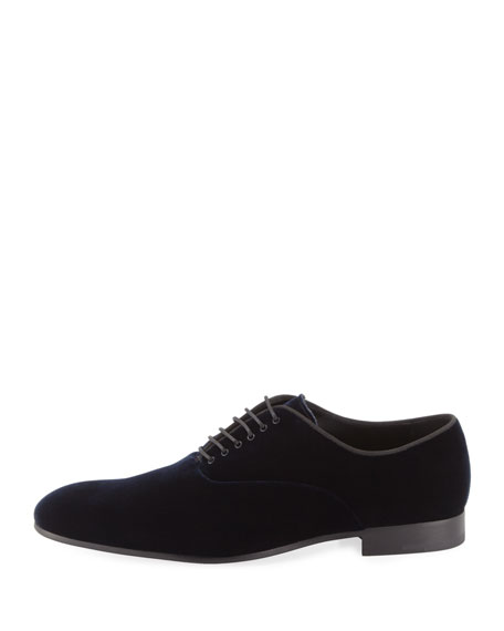 Velvet Oxford Dress Shoe, Navy