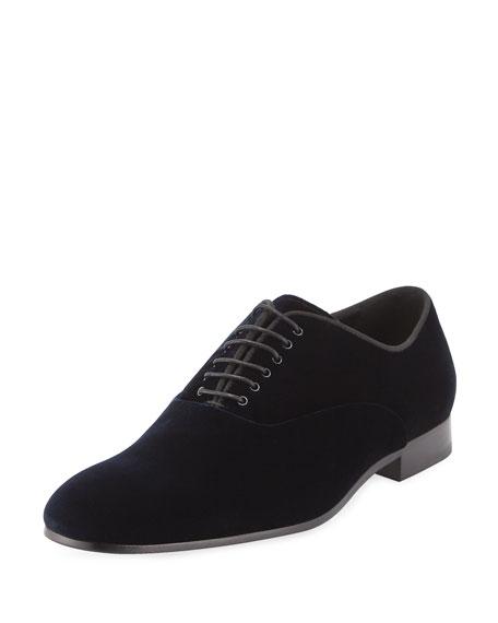 Velvet Oxford Dress Shoe, Navy
