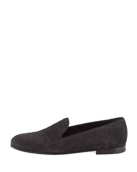 Croc-Embossed Suede Formal Loafer, Gray