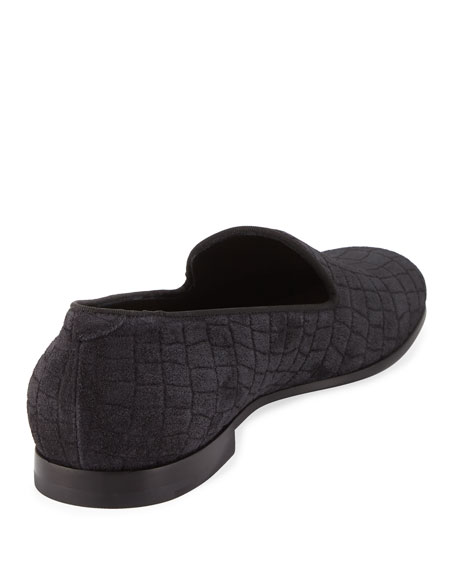 Croc-Embossed Suede Formal Loafer, Gray