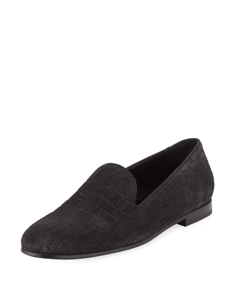 Giorgio Armani Croc-Embossed Suede Formal Loafer, Gray