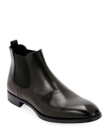 Giorgio Armani Gored Leather Chelsea Boot w/ Rubber