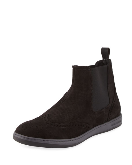 Giorgio Armani Perforated Suede Brogue Chelsea Boot, Gray