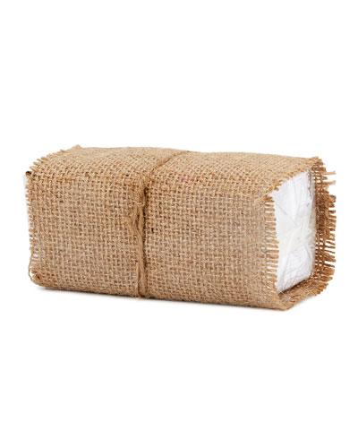 Burlap-Wrapped Handkerchiefs, Set of 10