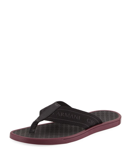 Giorgio Armani Logo Jacquard Thong Sandal, Black/Burgundy