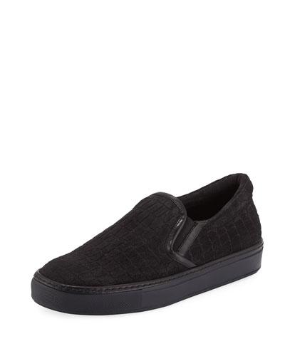 Croc-Embossed Suede Slip-On Sneaker, Gray
