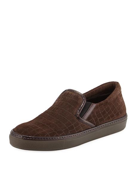 Giorgio Armani Croc-Embossed Suede Slip-On Sneaker, Gray