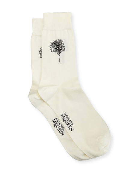 Alexander McQueen Peacock Feather Crew Socks
