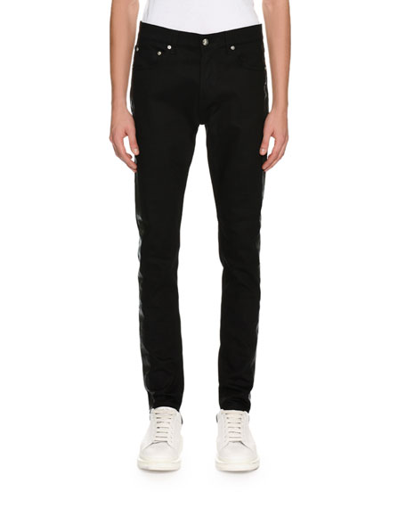 Coated-Stripe Skinny Jeans, Black