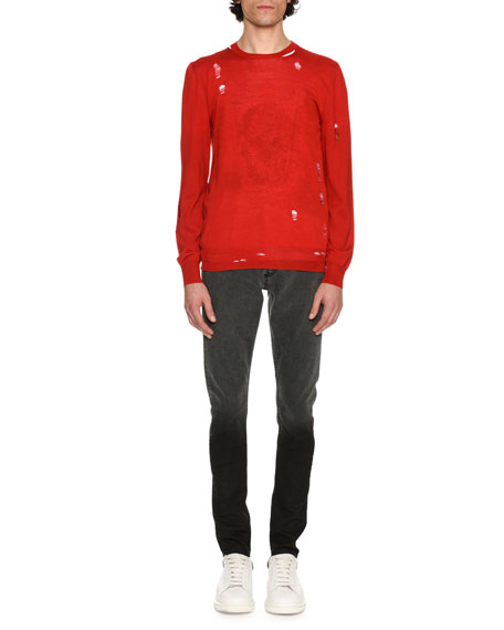 Alexander McQueen Distressed Crewneck Sweater, Red