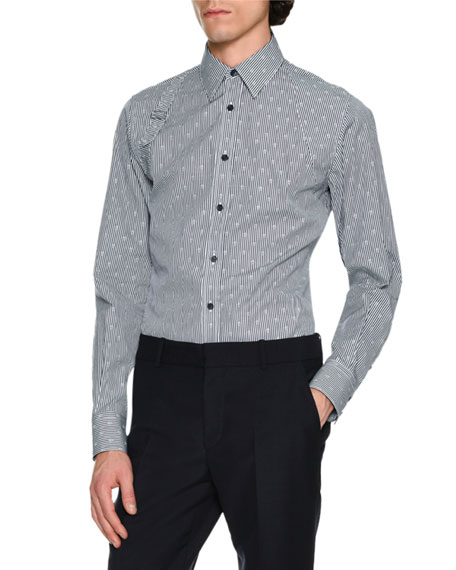 Alexander McQueen Striped Skull Jacquard Harness Shirt,
