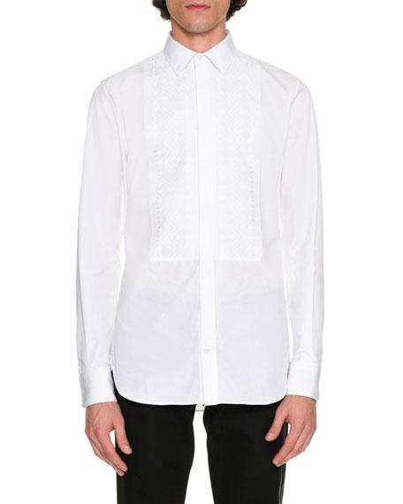 Printed-Bib Tuxedo Shirt, White