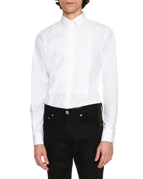 Alexander McQueen Printed-Bib Tuxedo Shirt, White