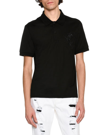 Alexander McQueen Embroidered-Pegasus Polo Shirt, Black