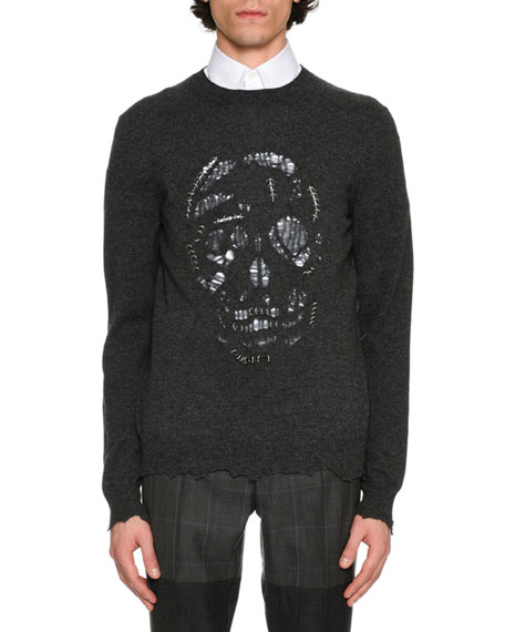 Alexander McQueen Pierced Skull Crewneck Pullover, Black