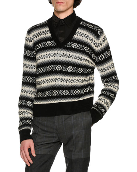 Alexander McQueen Fair Isle Cashmere V-Neck Sweater,