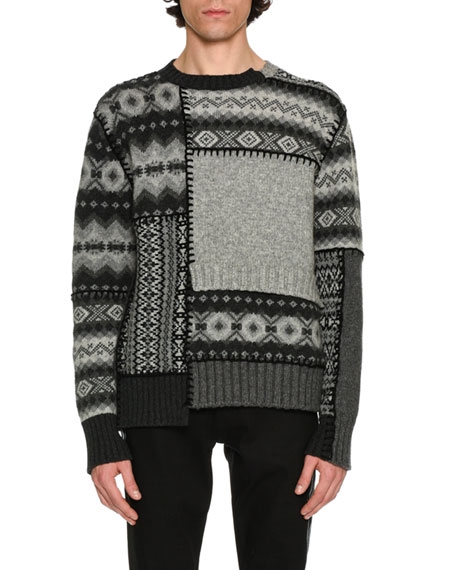 Alexander McQueen Patchwork Fair Isle Sweater, Gray/Black/Cream