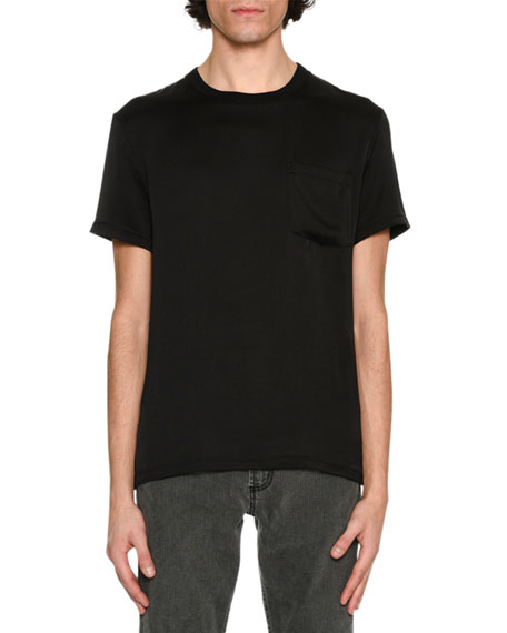 Alexander McQueen Silk Crewneck Pocket T-Shirt, Black