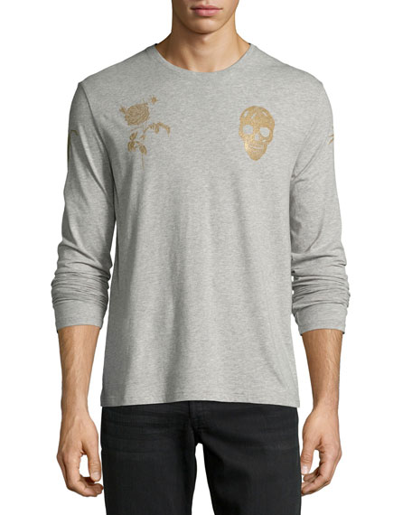Alexander McQueen Rose & Skull Long-Sleeve Cotton T-Shirt