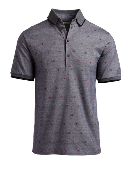 Mixed-Dot Mélange Polo Shirt, Gray