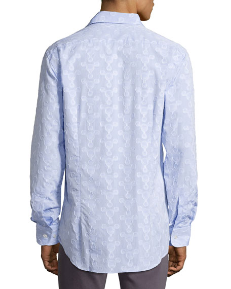 Flocked-Circle Cotton Shirt, Light Blue