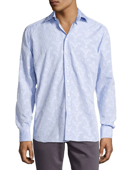 Etro Flocked-Circle Cotton Shirt, Light Blue