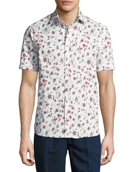 Etro Floral-Print Short-Sleeve Cotton Shirt, White