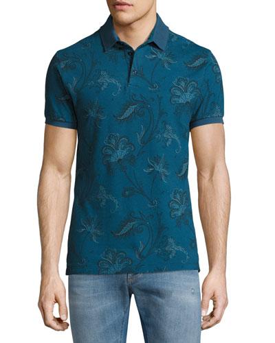 Paisley-Print Cotton Polo Shirt, Navy