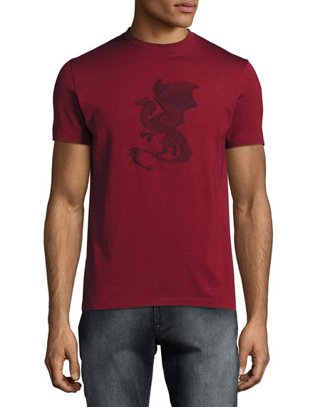 Embroidered Dragon Jersey T-Shirt, Red