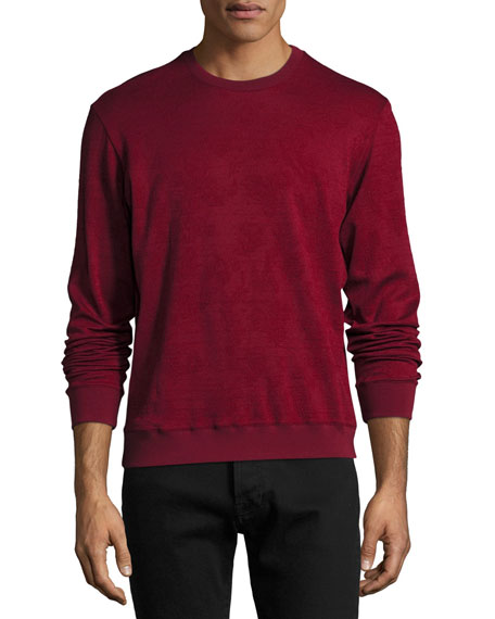 Etro Tonal Jacquard Wool-Cotton Crewneck Sweater, Red