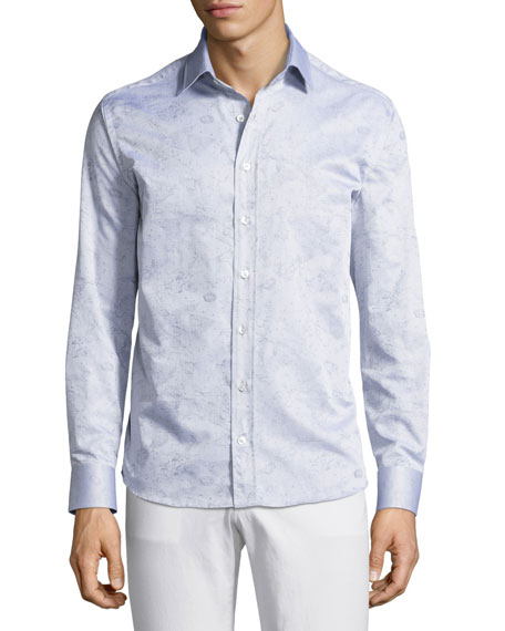 Etro Constellation-Print Cotton Shirt, Gray