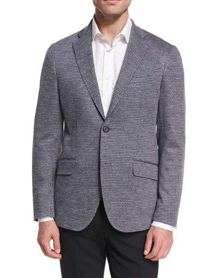 Etro Jersey Check Sport Coat, Gray