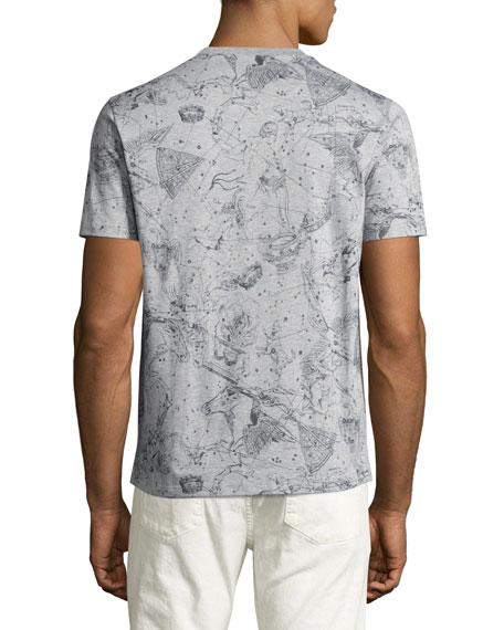Constellation-Print T-Shirt, Gray