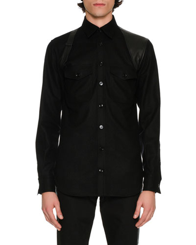 Wool Flannel Shirt with Leather Harness, Black