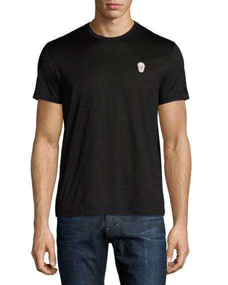 Cotton Crewneck T-Shirt with Metal Skull