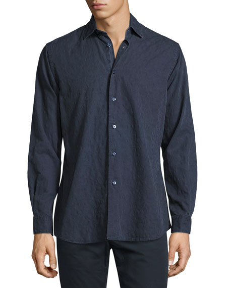 Tonal Paisley Washed Cotton Shirt, Navy