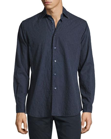 Etro Tonal Paisley Washed Cotton Shirt, Navy