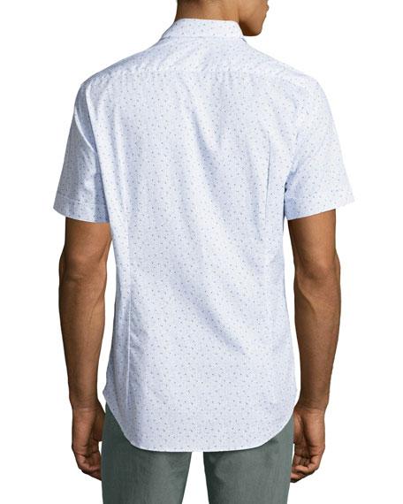 Topography-Print Short-Sleeve Cotton Shirt, White