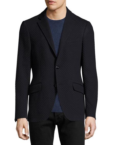 Diamond-Knit Cotton Blazer