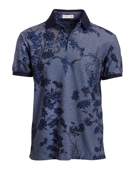 Floral Melange Cotton Polo Shirt, Gray