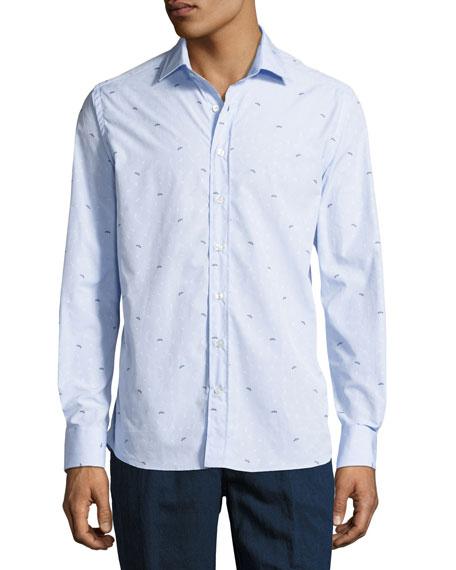 Etro Bird-Embroidered Cotton Shirt, Blue