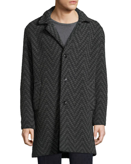 Long Chevron Wool Cardigan Coat, Gray