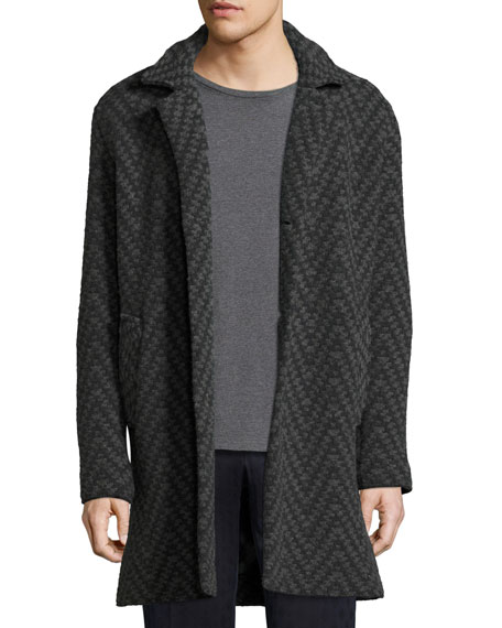 Etro Long Chevron Wool Cardigan Coat, Gray