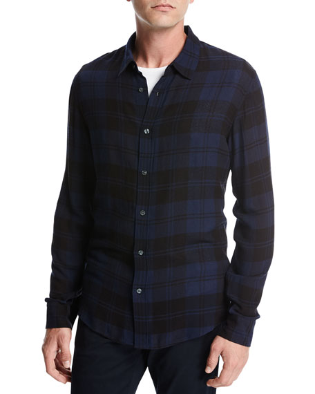 Vince Two-Tone Plaid Shirt, Navy